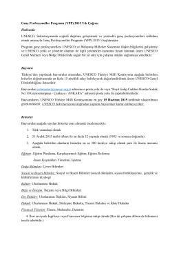 Genç Profesyoneller Programı (YPP) 2015 Yılı Çağrısı