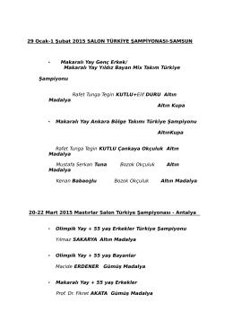 29 Ocak-1 Şubat 2015 SALON TÜRKİYE