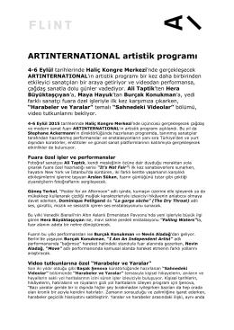 ARTINTERNATIONAL artistik programı