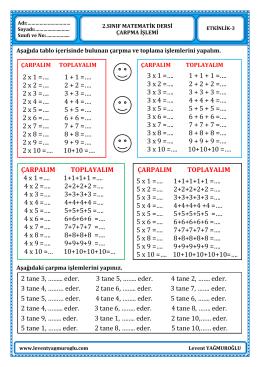 2.Sınıf Matematik Çarpma İşlemi Etkinlikleri-3
