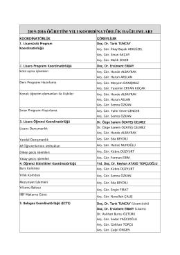 2015-2016 öğretim yılı koordinatörlük dağılımları