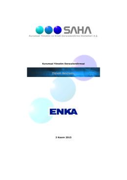 Kurumsal Yönetim Derecelendirme Raporu Kasım 2015