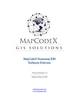 MapCodeX Numarataj KBS Kullanım Kılavuzu