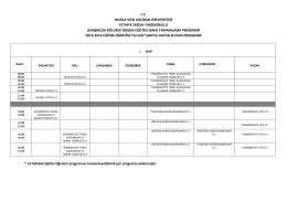 Örgün Eğitim Haftalık Ders Programı