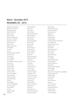 March - December 2015 REVIEWER LIST