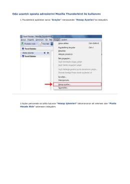 Oda uzantılı eposta adreslerini Mozilla Thunderbird ile kullanımı