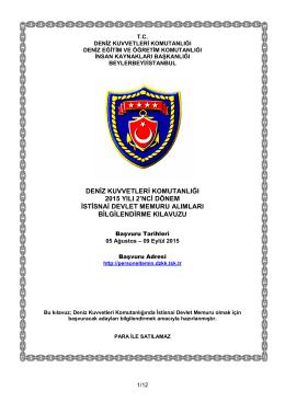 deniz kuvvetleri komutanlığı 2015 yılı 2`nci dönem istisnai devlet