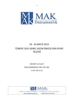 27 mayıs 2015 seçim öncesi son araştırması