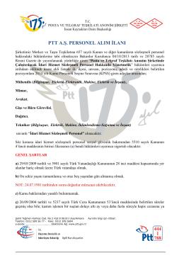 ptt a.ş. personel alım ilanı