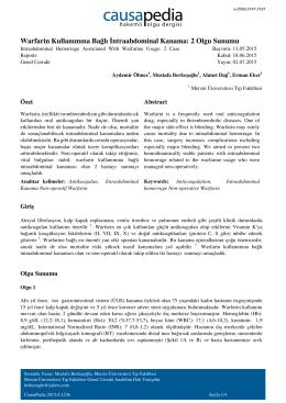 Warfarin Kullanımına Bağlı İntraabdominal Kanama: 2