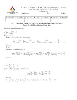 Final sınavı çözümü