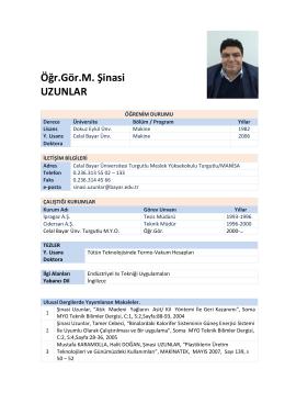 Öğr.Gör.M.Şinasi UZUNLAR - Celal Bayar Üniversitesi