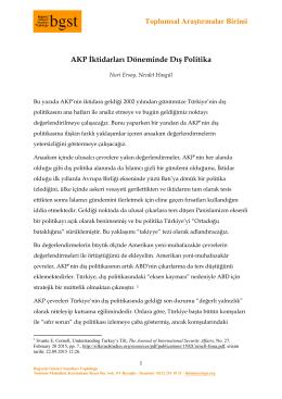Toplumsal Araştırmalar Birimi AKP İktidarları Döneminde Dış