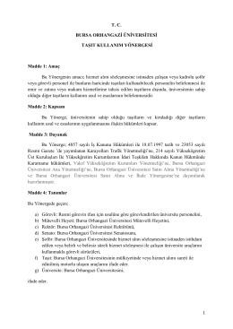 BOU Taşıt Kullanım Yönergesi - Bursa Orhangazi Üniversitesi