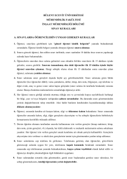 Sınavlarda Uyulması Gereken Kurallar - İnşaat Mühendisliği