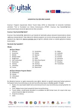AVRUPA`DA STAJ İÇİN HİBE OLANAĞI Erasmus+ Programı