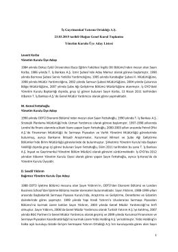 1 İş Gayrimenkul Yatırım Ortaklığı A.Ş. 23.03.2015 tarihli