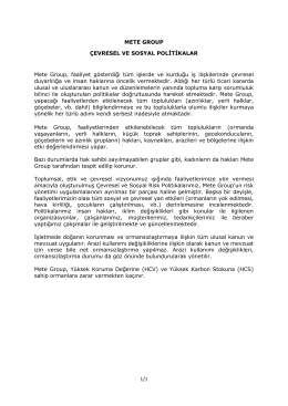 1/1 METE GROUP ÇEVRESEL VE SOSYAL POLİTİKALAR Mete