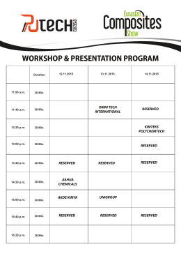 Putech Eurasia & Eurasian Composites Show Workshop Program