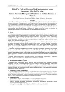 Bişkek`te Faaliyet Gösteren Türk İşletmelerinde İnsan Kaynakları