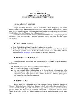 Sınavı Duyurusu - Maliye Bakanlığı