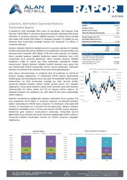 T.İş Bankası A.Ş. Araştırma Raporu - alan yatırım menkul değerler a.ş.