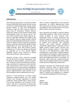 Başlarken  - Hava Kirliliği Araştırmaları Dergisi