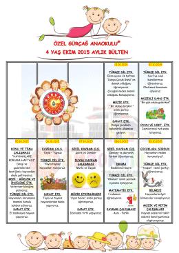 özel gürçağ anaokulu® 4 yaş ekim 2015 aylık bülten