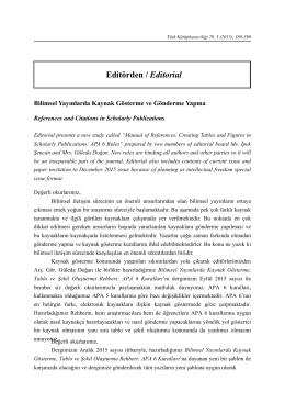 Editörden / Editorial - Türk Kütüphaneciliği