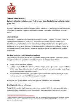 Üyeler için FWF Kılavuzu Suriyeli mültecileri istihdam eden Türkiye