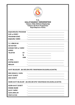 Kayıt başvuru formu - Galatasaray Üniversitesi