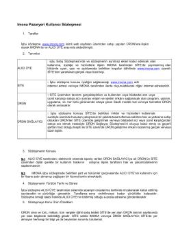 Imona Pazaryeri Kullanıcı Sözleşmesi
