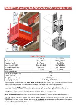 personel ve yük inşaat cephe asansörü: ıza pax 16