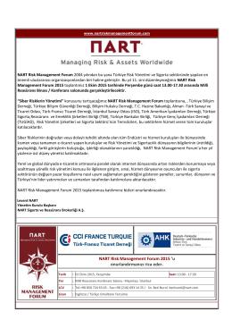 NART Risk Management Forum 2015 `u onurlandırmanızı rica eder.