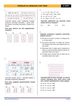 özdeşlik ile denklemi ayırt eder 8.sınıf