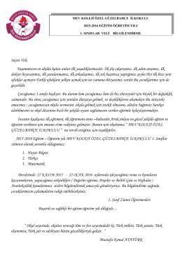1. sınıflar 2.veli bilgilendirme mektubu