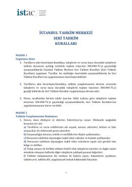 Seri Tahkim Kuralları - İstanbul Tahkim Merkezi