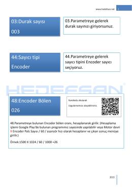 03:Durak sayısı 003 44:Sayıcı tipi Encoder 48:Encoder