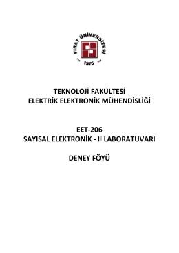 EET-206 Sayısal Elektronik - II Laboratuvarı Deney Föyü