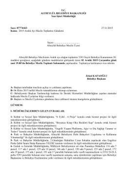 T.C. ALTIEYLÜL BELEDİYE BAŞKANLIĞI Yazı İşleri Müdürlüğü Sayı
