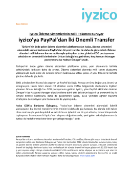 iyzico`ya PayPal`dan İki Önemli Transfer