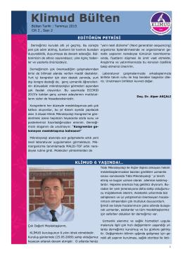 KLİMUD e-bülten Temmuz 2015 - Klinik Mikrobiyoloji Uzmanlık