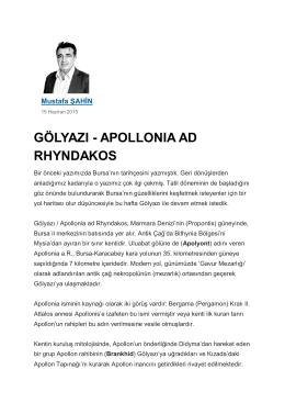 """""""GÖLYAZI - APOLLONIA AD RHYNDAKOS"""",Yeni Dönem Gazetesi"""