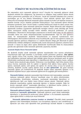 türkiye`de matematik eğitimcisi olmak
