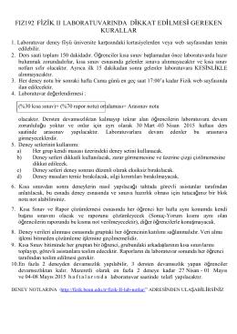 FIZ192 FİZİK II Laboratuvarında dikkat edilmesi gereken kurallar.