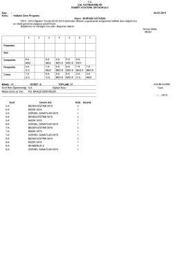 Öğretmenlerimiz Ders Programı 2014-2015