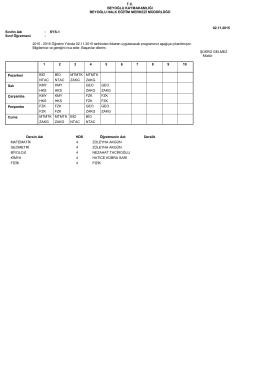 Sayısal 1 Sınıfı Ders Programı