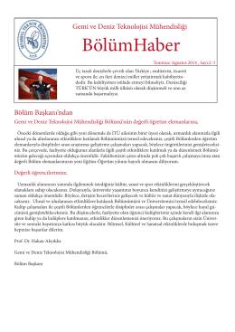 Bölüm Haber Sayı 2-3 - Gemi ve Deniz Teknolojisi Mühendisliği