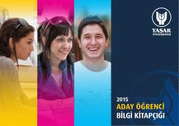 Aday Bilgi Kitapçığı - Yaşar Üniversitesi Aday Bilgi