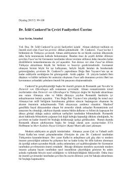 Dr. İclâl Cankorel`in Çeviri Faaliyetleri Üzerine
